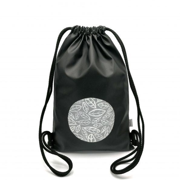cierny kozenkovy ruksak sive listy DESGINOVO black gray leafs