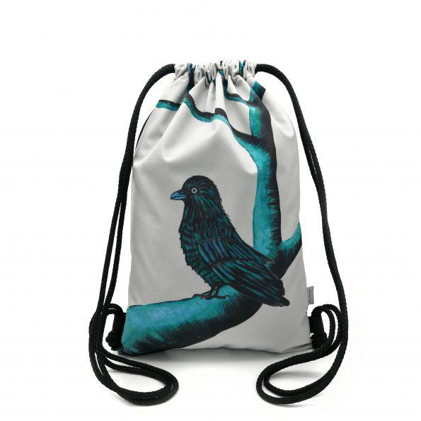 ruksak backpack DESIGNOVO softshell vrana crow aquamarine trees stromy black